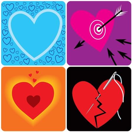 Hearts: lonely, in love, happy, broken