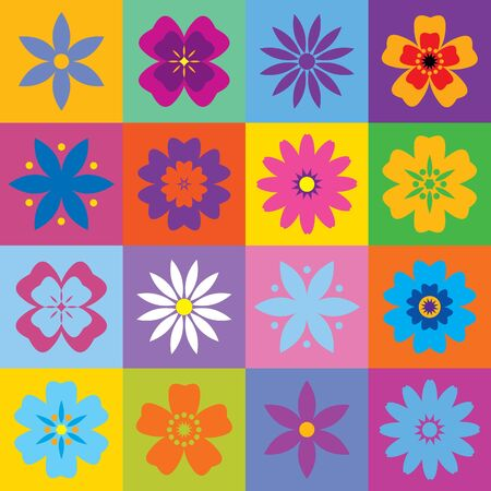 Set of 16 flower icons Stock Vector - 10203148
