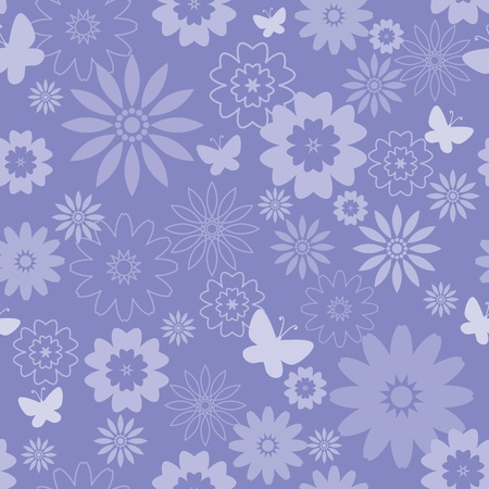Floral seamless pattern in blue