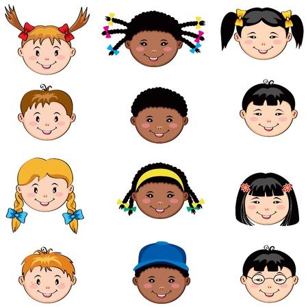cartoon jongen: Multi-etnische kinderen gezichten: blanke, Afrikaanse en Aziatische jongens en meisjes Stock Illustratie