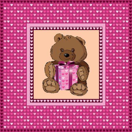 Birthday card with a teddy bear Vector