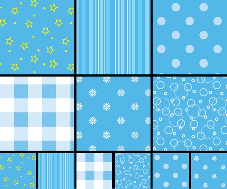 Seamless patterns in blue Vector