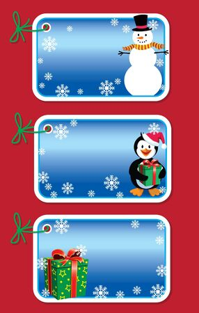 Set of 3 Xmas gift tags (gradients used) Illustration