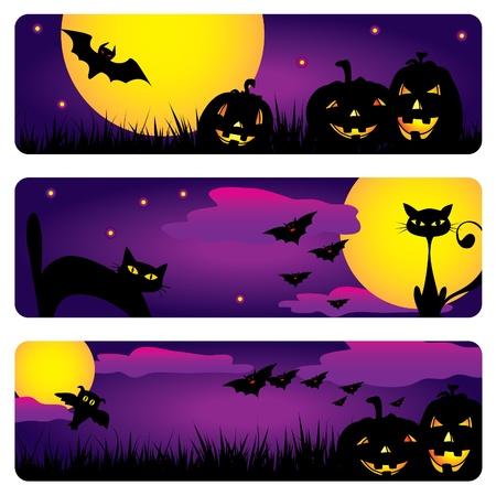 Three Halloween banners with cats, owls, bats, pumpkins