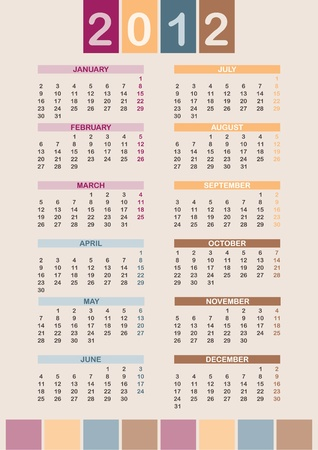 Calendar 2012 - week starts on Mon Vector