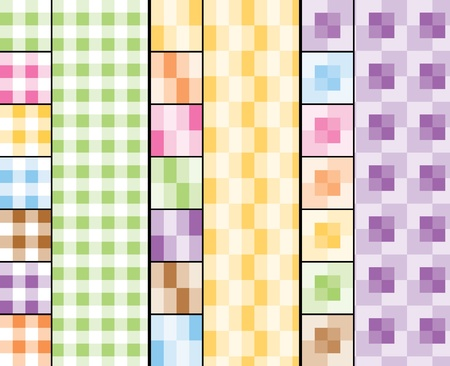 21 seamless patterns: 3 designs made of squares (7 color options for each)