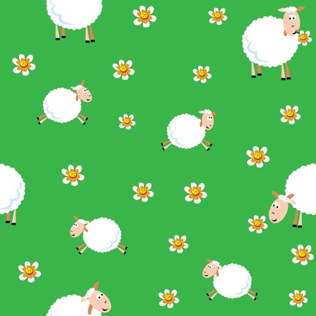 Seamless pattern of sheep and lambs in the meadow Vector