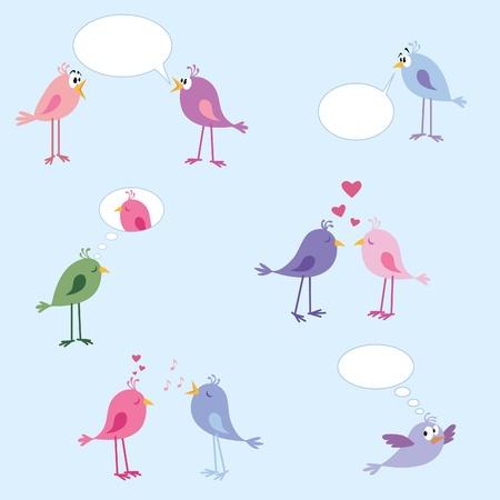 flirting: Cute birdies talking, dreaming, thinking, flirting, sad, surprised, etc.