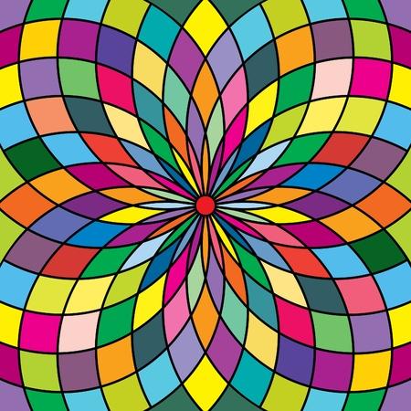 대칭: 스테인드 글라스 스타일의 원활한 배경 무늬; 꽃 모티브