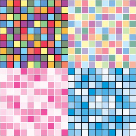 Four seamless patterns in mosaic style Stock Vector - 10637052