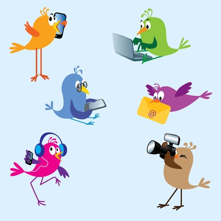 using phone: Six cute colorful birds using electronic devices: talking on mobile, typing on laptop, reading on ebook reader, bringing e-mail, dancing to MP3 player, taking pictures