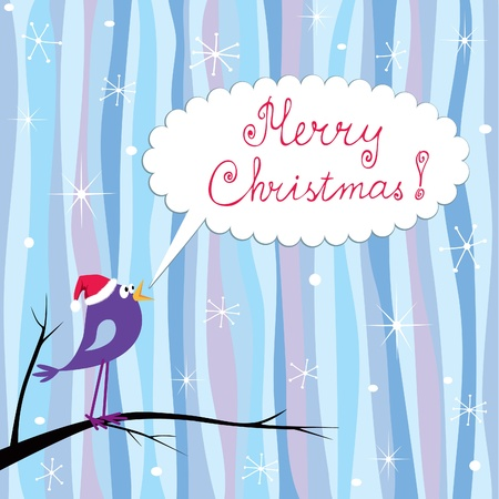 A retro style Xmas greeting card with cute bird Vector