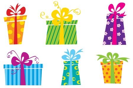 bolsa de regalo: Seis cajas de regalos coloridos lindo Vectores