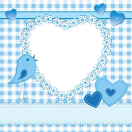 baby boy shower: A greeting card in scrapbook style with photo frame. Perfect for a baby boy. AI 10 with strokes and patterns provided. Illustration