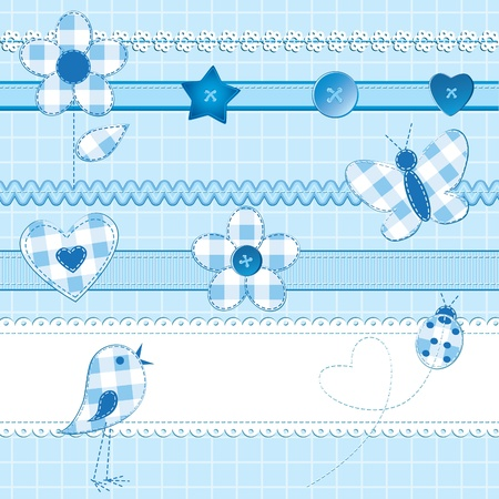 A set of 15 scrapbook elements: flowers, ribbons, buttons, ladybug and bird on a checkered background. Blue color, perfect for baby boy themes. AI 10 file with strokes and patterns provided.