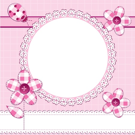 baby girl background: A greeting card in scrapbook style with photo frame. Perfect for a baby girl, Valentine day or wedding themes