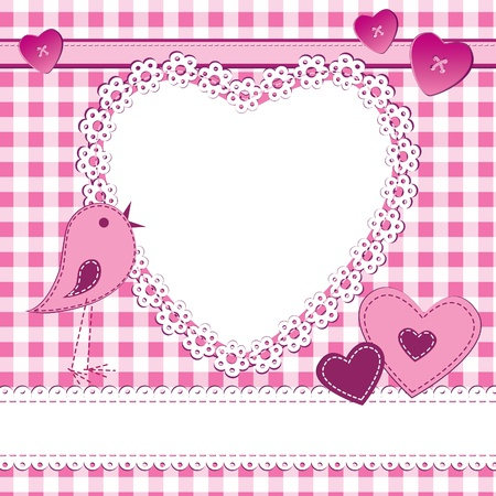 stitched: A greeting card in scrapbook style with photo frame. Perfect for a baby girl, Valentine day or wedding themes