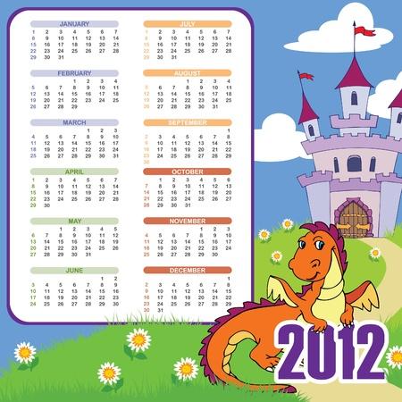 2012 kids calendar: week starts SUN; bleed left; 210mmx210mm