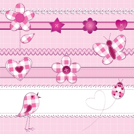 baby girl pink: A set of 15 scrapbook elements: flowers, ribbons, buttons, ladybug and bird on a checkered background. Pink color, perfect for baby girl, Valentine day or wedding themes.