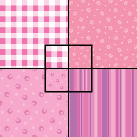 A set of 4 seamless patterns: checkered, floral, circles and stripes. Swatches are provided Vector