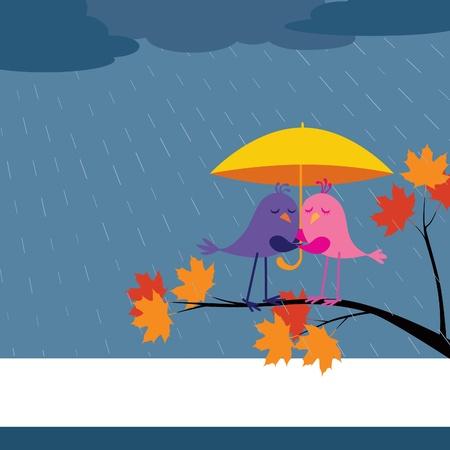 A couple of birds under umbrella in rain