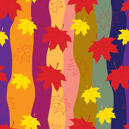 A colorful seamless pattern of maple leaves on retro striped background