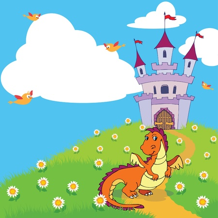 A cute dragon in front of a fairy tale castle on a hill. Use the big cloud as copy space if needed. Vector