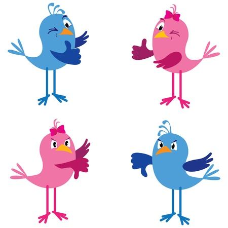 Two cute birds (boy and girl) showing thumbs up and down Stock Vector - 10962461