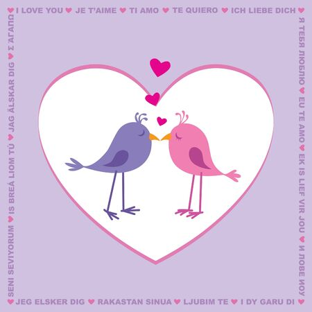 Love you card with cute birds; text in multiple languages Vector