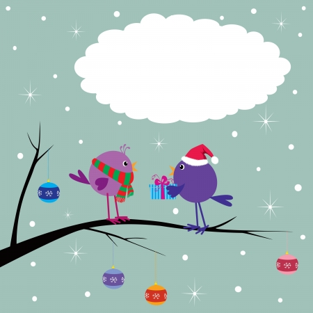 Xmas card with cute birds Vector