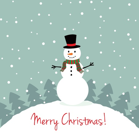 Xmas card with a cute snowman Vector
