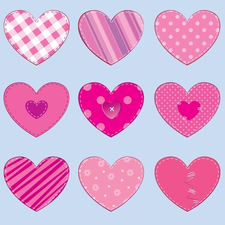 Set of 9 hearts in stitched textile style, great for scrapbooking Vector