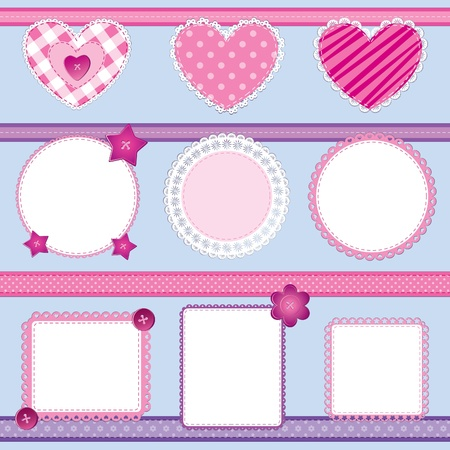 Scrapbook elements set in pink and lilac; perfect for baby girl, birthday and wedding themes