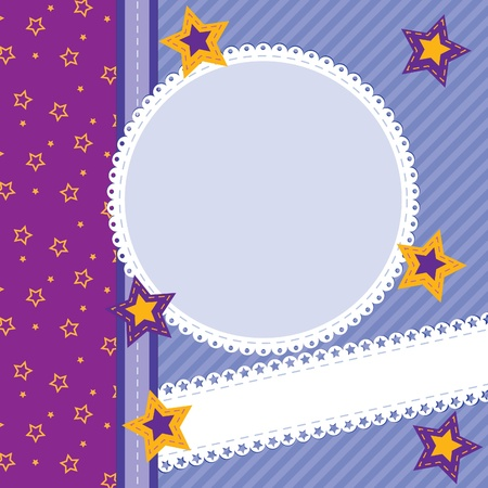 Scrapbook card with stars, photo frame and copy space Illustration