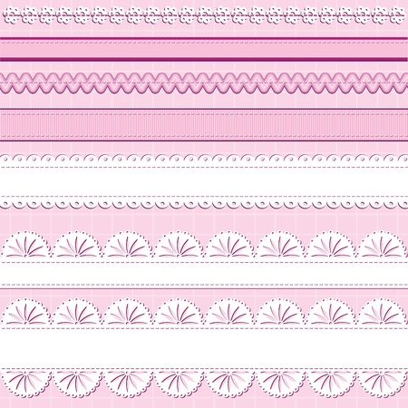 A set of ribbons and lace on pink background; great for scrapbooking designs Vector