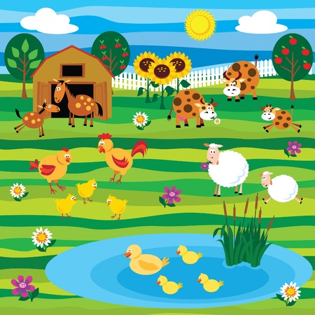 Farm animals on the farm Illustration