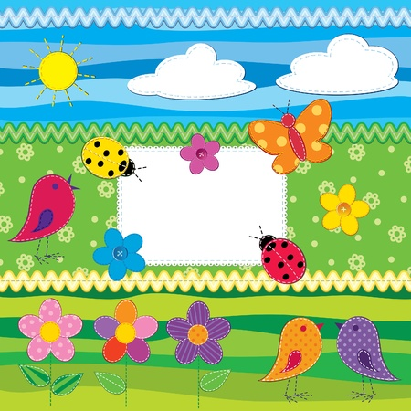 Scrapbook set with birds, flowers, etc; 3 seamless backgrounds included (with swatches)