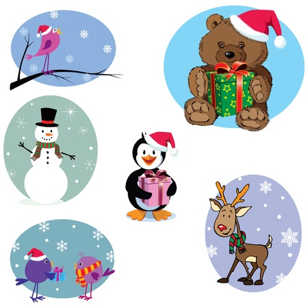 Christmas cartoon characters set: 3 birds, penguin, snowman, teddy bear and Rudolph the Reindeer. BONUS: 5 snowflake design and 3 gift boxes Vector