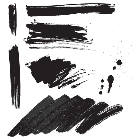 grunge brush: Brush strokes and ink splatter set