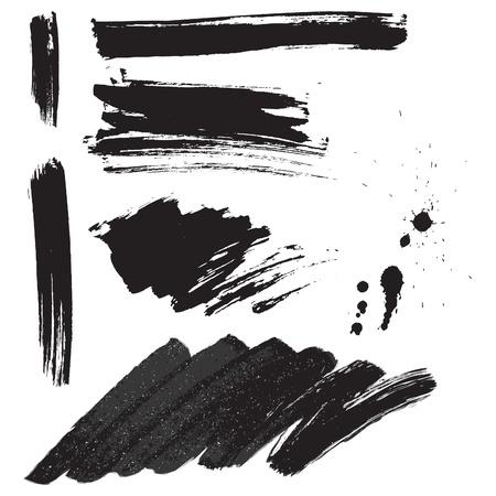 Penseelstreken en inkt splatter set