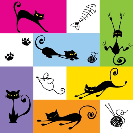 cats playing: Six funny black cats; hand drawn