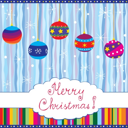 Merry Xmas card with baubles; hand written text; seamless retro background Vector