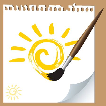 Sun painted with brush on paper