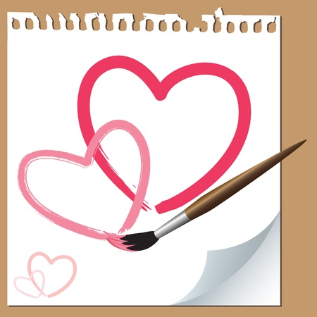 Hand drawn hearts with a brush on paper Illustration