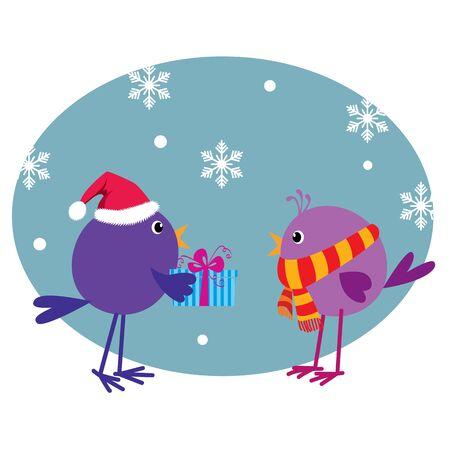 Cute birds with Xmas present Illustration
