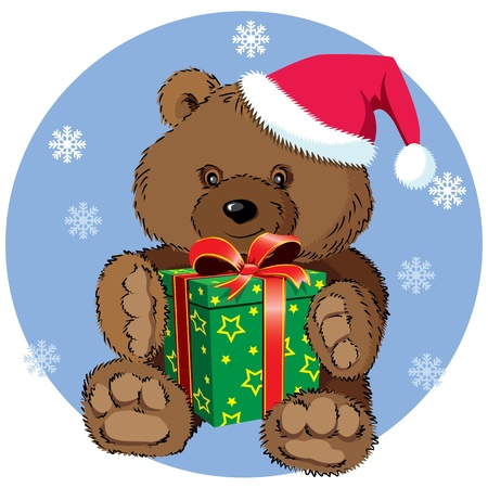 Cute teddy bear with Xmas present Vector