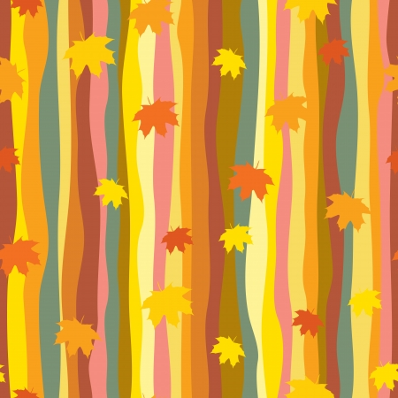 Seamless pattern with maple leaves in retro style Illustration