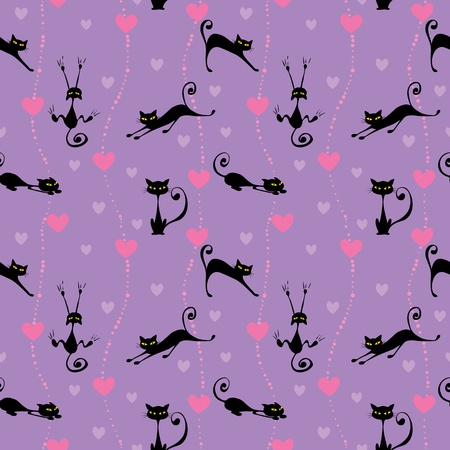 Seamless pattern with black cats and hearts Vector