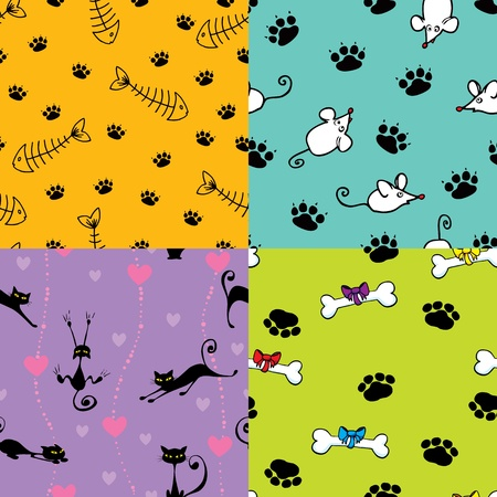 valentine cat: Four seamless pattern with cats and dog themes Illustration