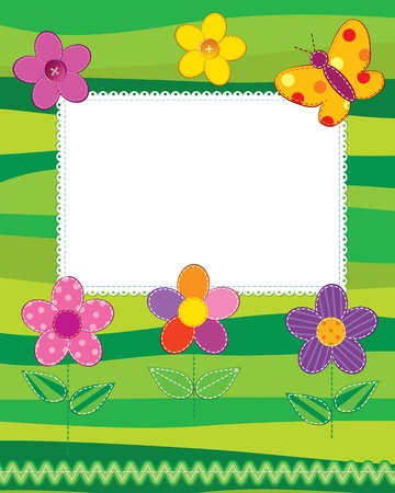 Scrapbook photo frame or card with cute flowers and butterfly